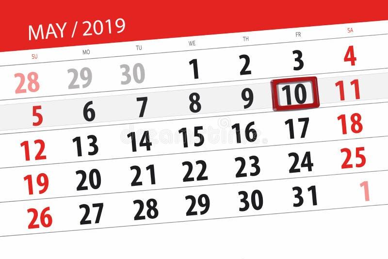 Kalenderplaner für den Monat kann 2019, Schlusstag, Freitag 10 lizenzfreie stockbilder