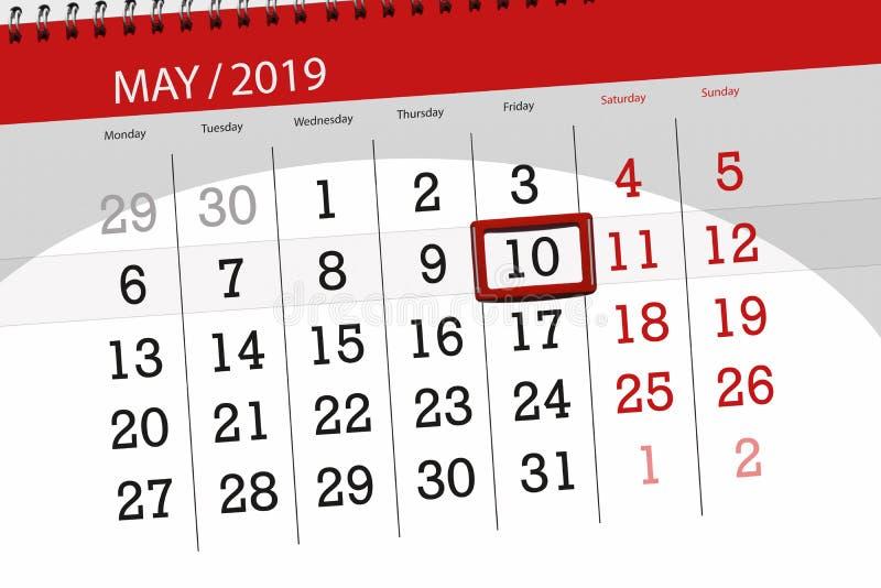 Kalenderplaner für den Monat kann 2019, Schlusstag, Freitag 10 stockfoto