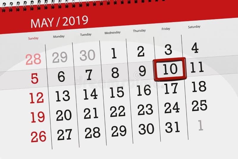 Kalenderplaner für den Monat kann 2019, Schlusstag, Freitag 10 lizenzfreies stockbild