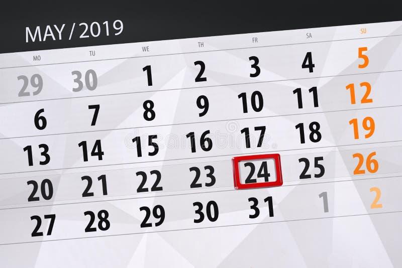 Kalenderplaner für den Monat kann 2019, Schlusstag, 24 Freitag lizenzfreies stockbild