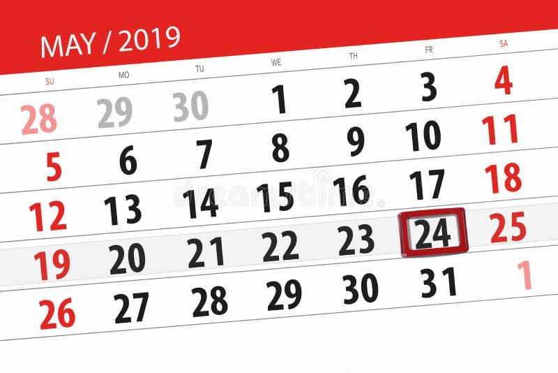 Kalenderplaner für den Monat kann 2019, Schlusstag, 24 Freitag lizenzfreies stockfoto