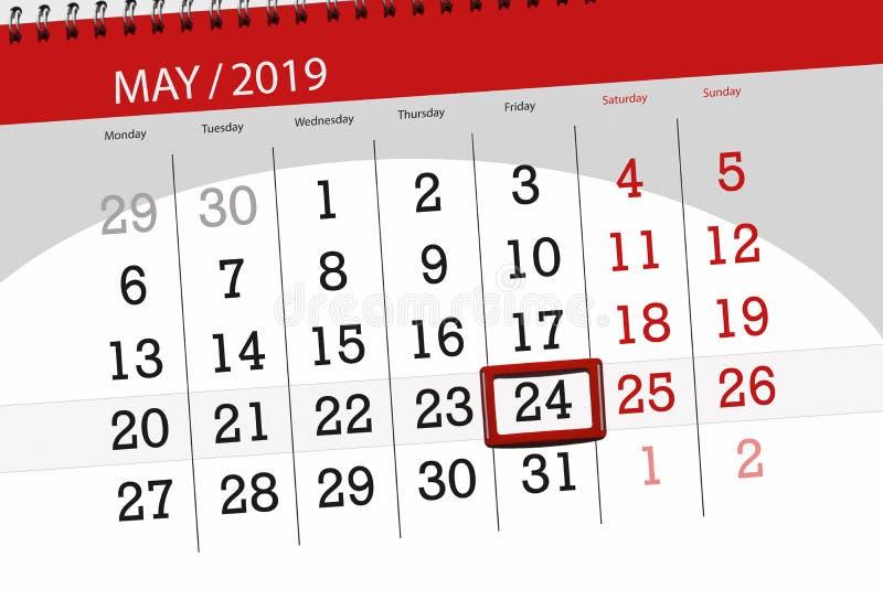 Kalenderplaner für den Monat kann 2019, Schlusstag, 24 Freitag stockfotos