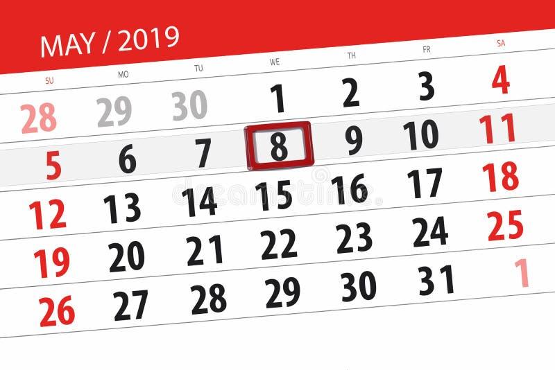 Kalenderplaner für den Monat kann 2019, Schlusstag, Mittwoch 8 stockbilder