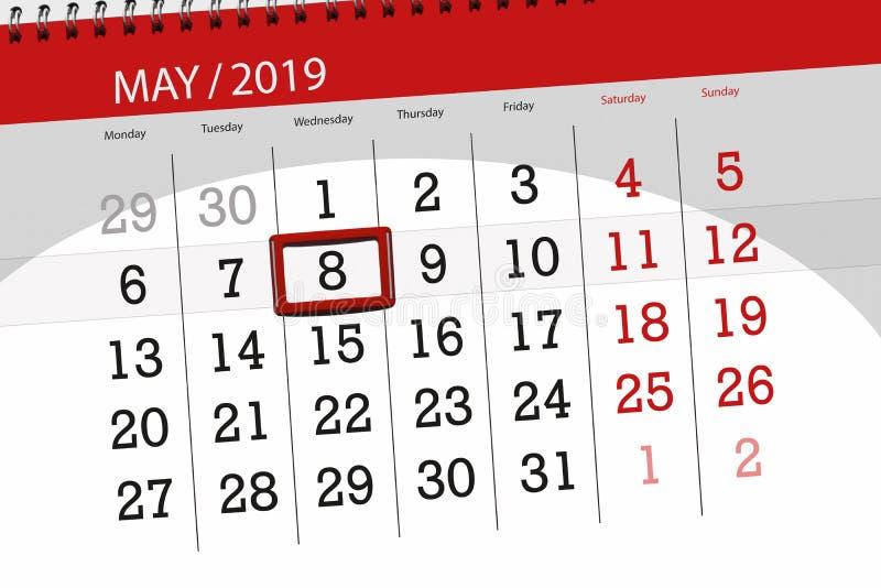 Kalenderplaner für den Monat kann 2019, Schlusstag, Mittwoch 8 lizenzfreie stockbilder