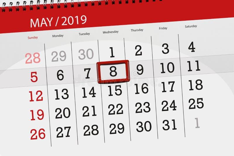 Kalenderplaner für den Monat kann 2019, Schlusstag, Mittwoch 8 stockfoto