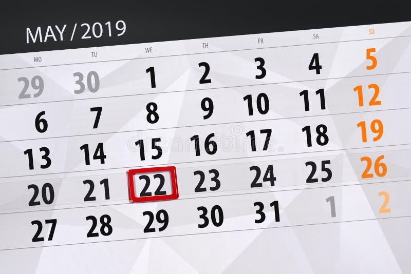Kalenderplaner für den Monat kann 2019, Schlusstag, Mittwoch 22 lizenzfreies stockbild