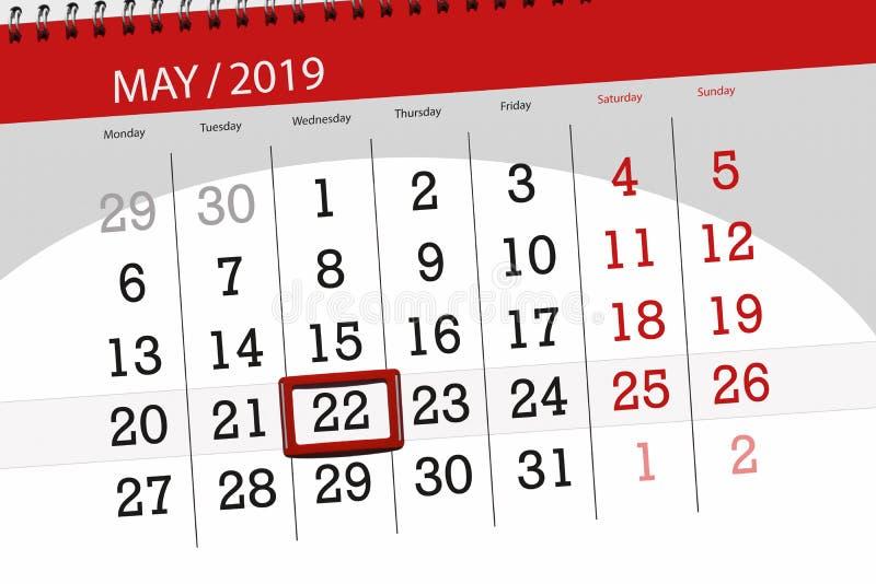 Kalenderplaner für den Monat kann 2019, Schlusstag, Mittwoch 22 stockfotos