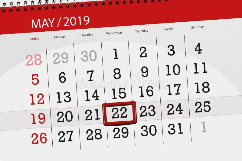 Kalenderplaner für den Monat kann 2019, Schlusstag, Mittwoch 22 stockbild