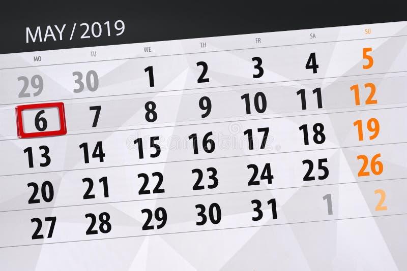 Kalenderplaner für den Monat kann 2019, Schlusstag, Montag 6 lizenzfreies stockfoto