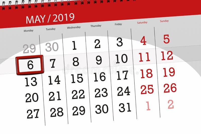 Kalenderplaner für den Monat kann 2019, Schlusstag, Montag 6 stockfotografie