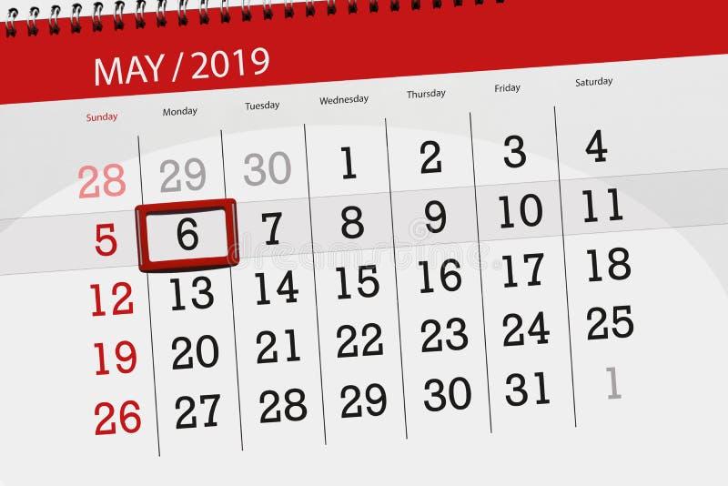 Kalenderplaner für den Monat kann 2019, Schlusstag, Montag 6 lizenzfreie stockfotografie