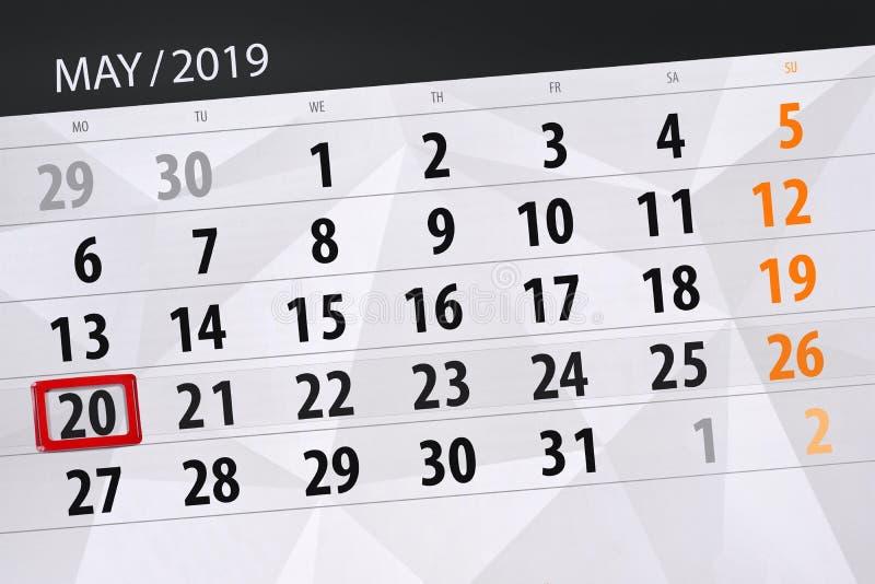 Kalenderplaner für den Monat kann 2019, Schlusstag, Montag 20 lizenzfreie stockfotografie