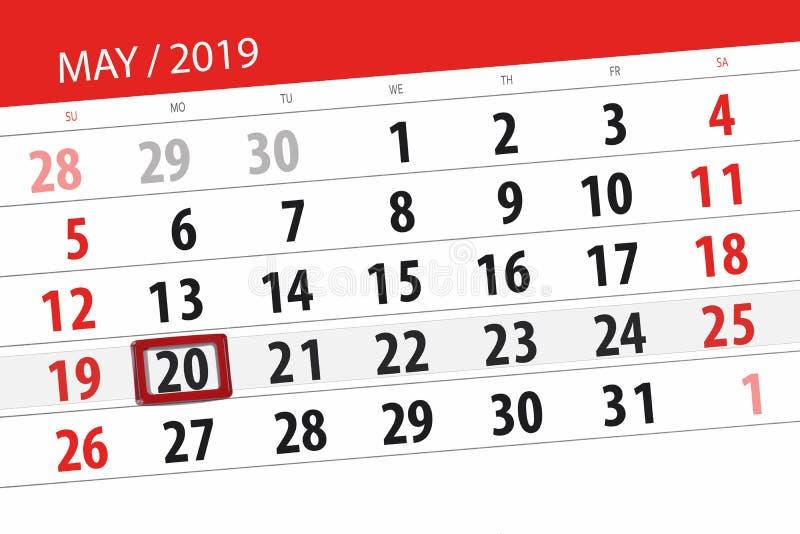Kalenderplaner für den Monat kann 2019, Schlusstag, Montag 20 lizenzfreies stockbild