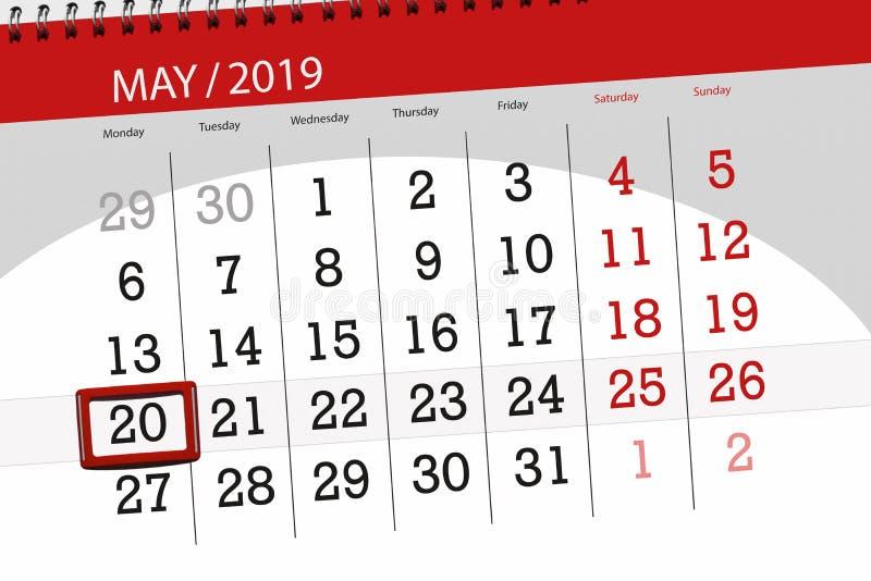 Kalenderplaner für den Monat kann 2019, Schlusstag, Montag 20 stockbild