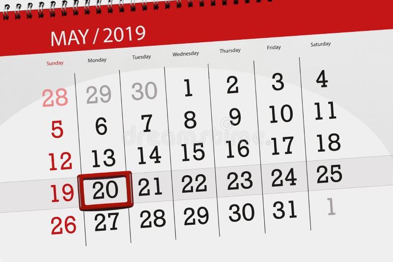 Kalenderplaner für den Monat kann 2019, Schlusstag, Montag 20 stockfotografie