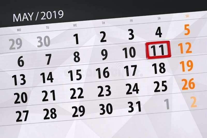 Kalenderplaner für den Monat kann 2019, Schlusstag, Samstag 11 lizenzfreies stockbild
