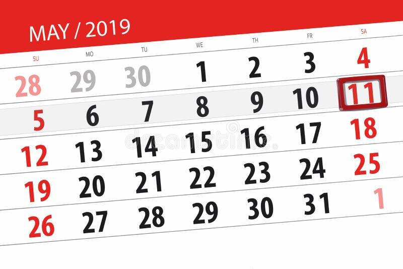 Kalenderplaner für den Monat kann 2019, Schlusstag, Samstag 11 stockfoto