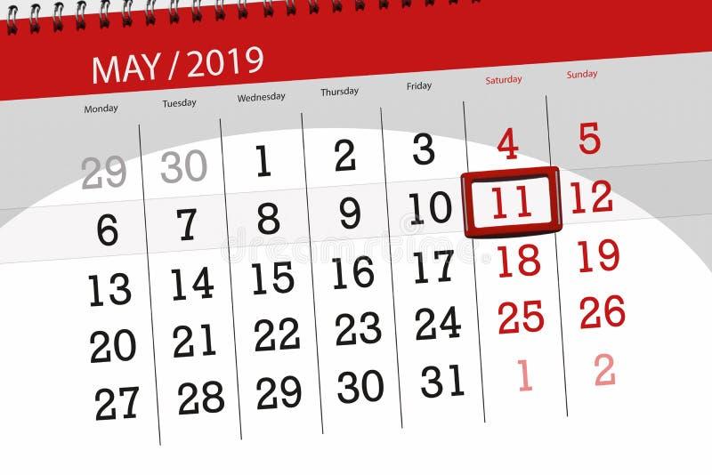 Kalenderplaner für den Monat kann 2019, Schlusstag, Samstag 11 lizenzfreie stockbilder