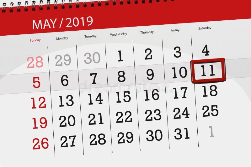 Kalenderplaner für den Monat kann 2019, Schlusstag, Samstag 11 stockfotografie