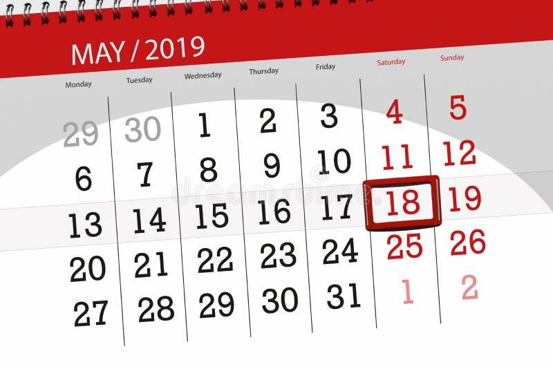 Kalenderplaner für den Monat kann 2019, Schlusstag, Samstag 18 stockfotos