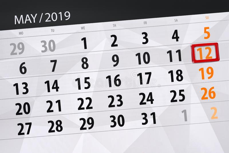 Kalenderplaner für den Monat kann 2019, Schlusstag, Sonntag 12 lizenzfreie stockfotografie