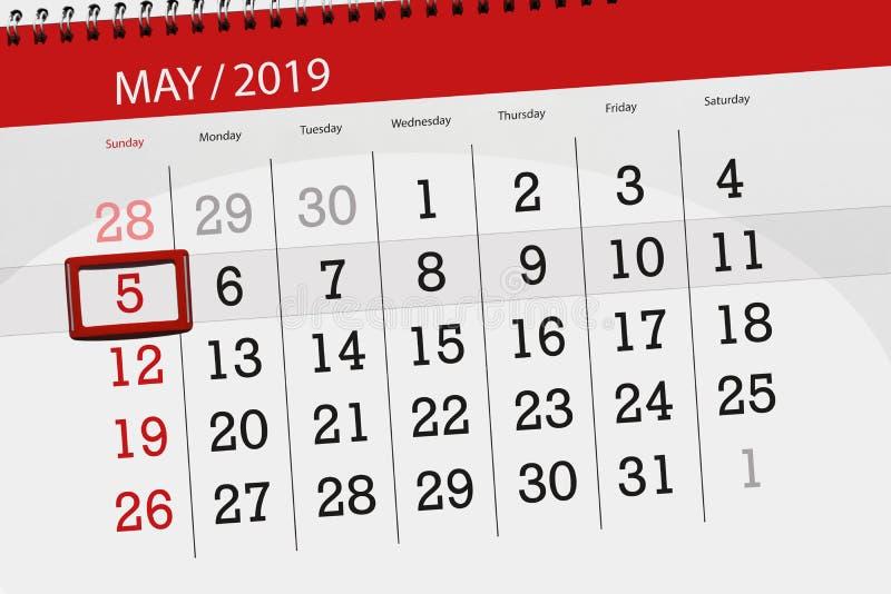 Kalenderplaner für den Monat kann 2019, Schlusstag, Sonntag 5 stockbild