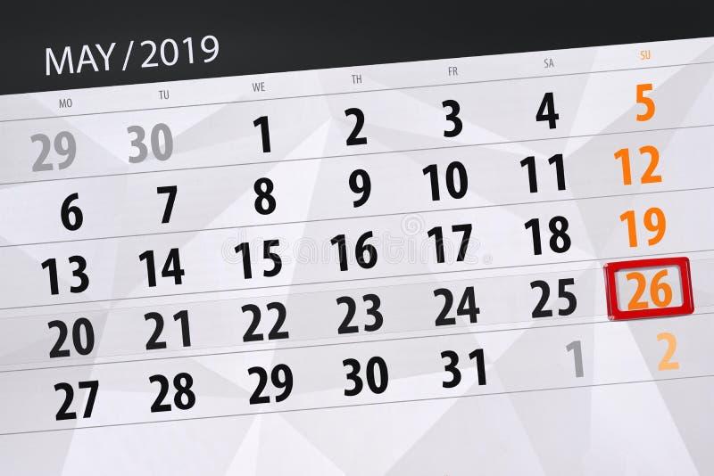 Kalenderplaner für den Monat kann 2019, Schlusstag, Sonntag 26 stockfotos