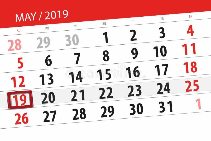 Kalenderplaner für den Monat kann 2019, Schlusstag, Sonntag 19 stockfotos