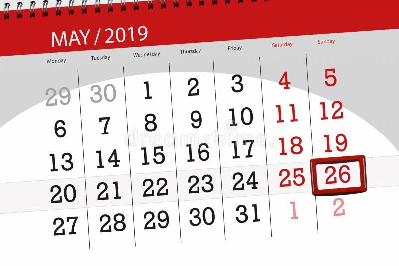 Kalenderplaner für den Monat kann 2019, Schlusstag, Sonntag 26 lizenzfreie stockfotos