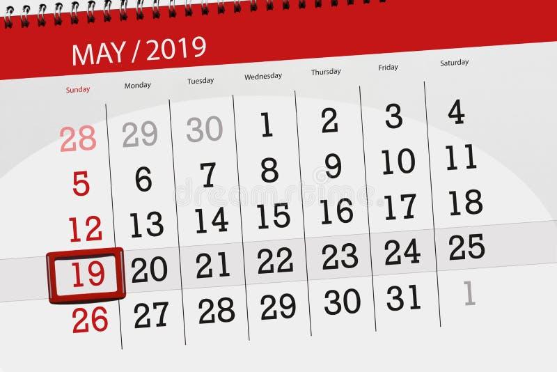 Kalenderplaner für den Monat kann 2019, Schlusstag, Sonntag 19 stockfoto