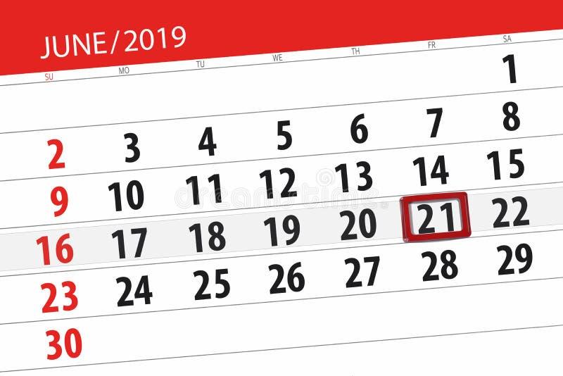 Kalenderplaner f?r den Monat im Juni 2019, Schlusstag, 21, Freitag stockfotos