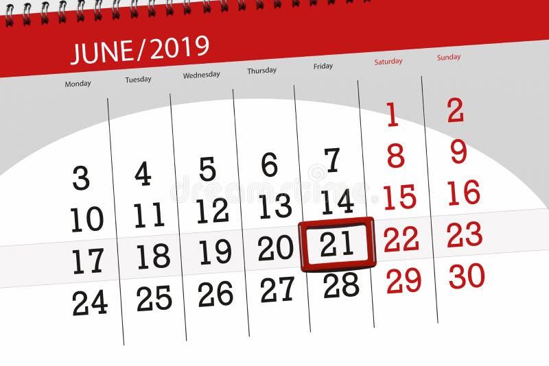 Kalenderplaner f?r den Monat im Juni 2019, Schlusstag, 21, Freitag lizenzfreies stockfoto
