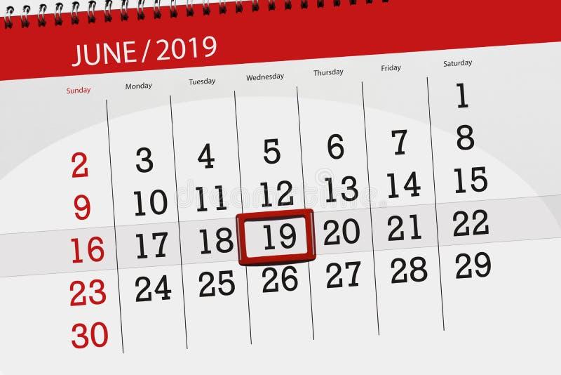 Kalenderplaner f?r den Monat im Juni 2019, Schlusstag, 19, Mittwoch lizenzfreies stockfoto