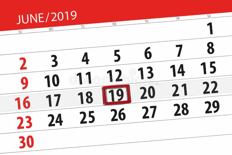 Kalenderplaner f?r den Monat im Juni 2019, Schlusstag, 19, Mittwoch lizenzfreie stockfotografie