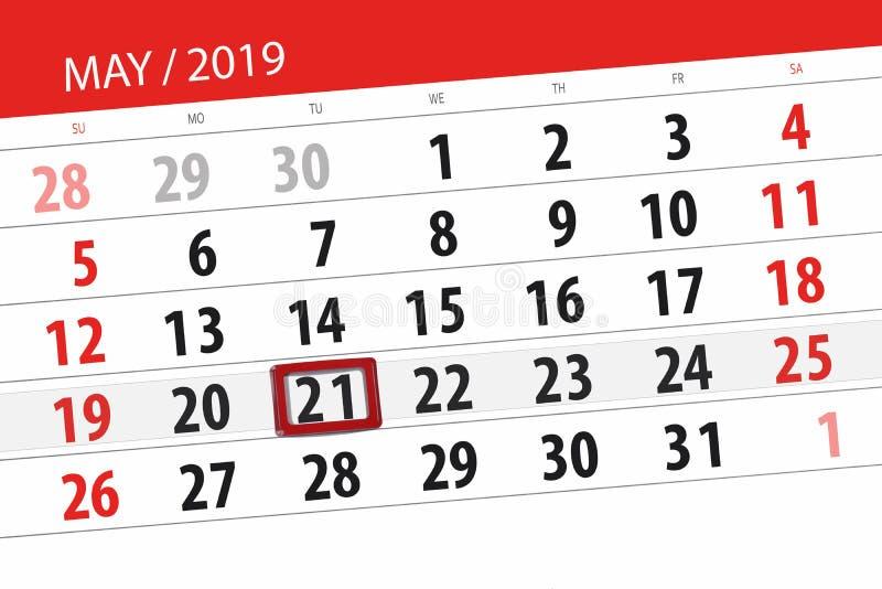 Kalenderplaner f?r den Monat kann 2019, Schlusstag, Dienstag 21 stockfotografie