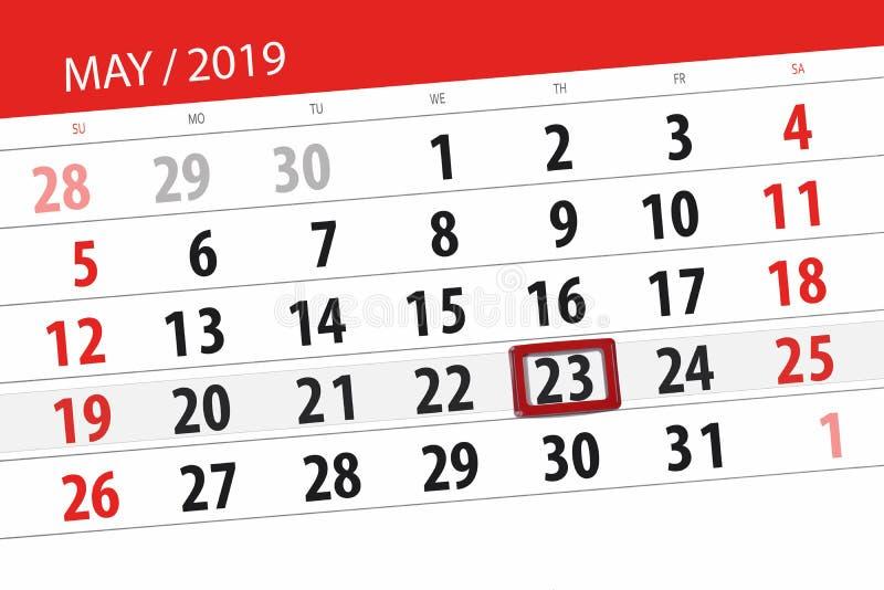 Kalenderplaner f?r den Monat kann 2019, Schlusstag, Donnerstag 23 lizenzfreie stockfotos