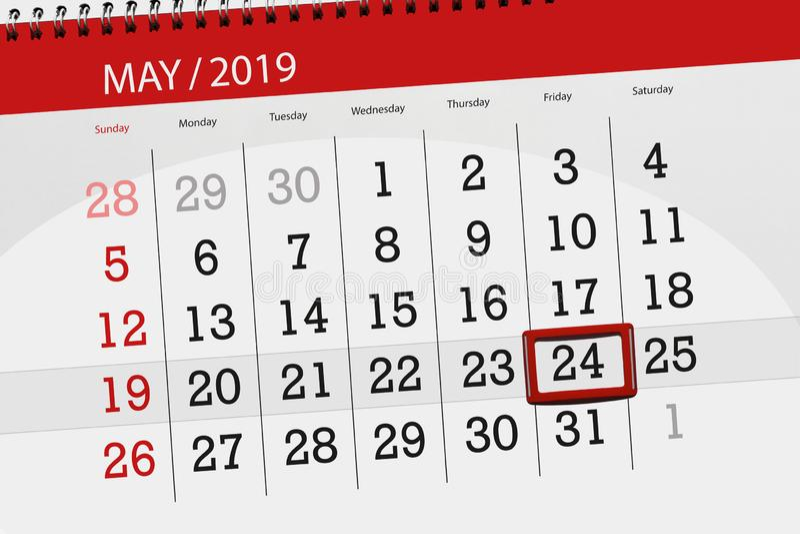 Kalenderplaner f?r den Monat kann 2019, Schlusstag, 24 Freitag stockfotografie