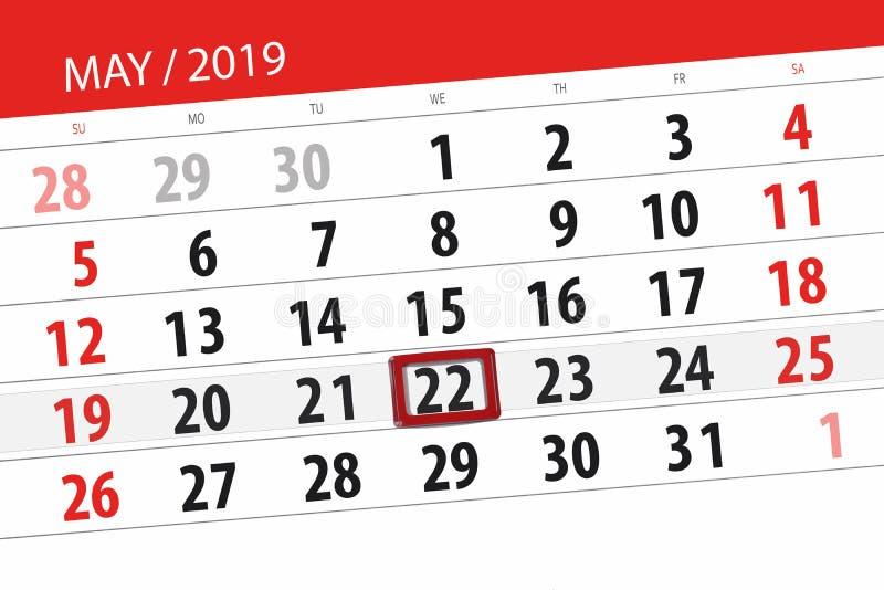 Kalenderplaner f?r den Monat kann 2019, Schlusstag, Mittwoch 22 stockbilder