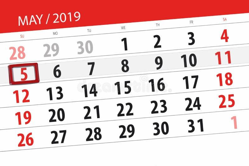Kalenderplaner f?r den Monat kann 2019, Schlusstag, Sonntag 5 lizenzfreie stockbilder