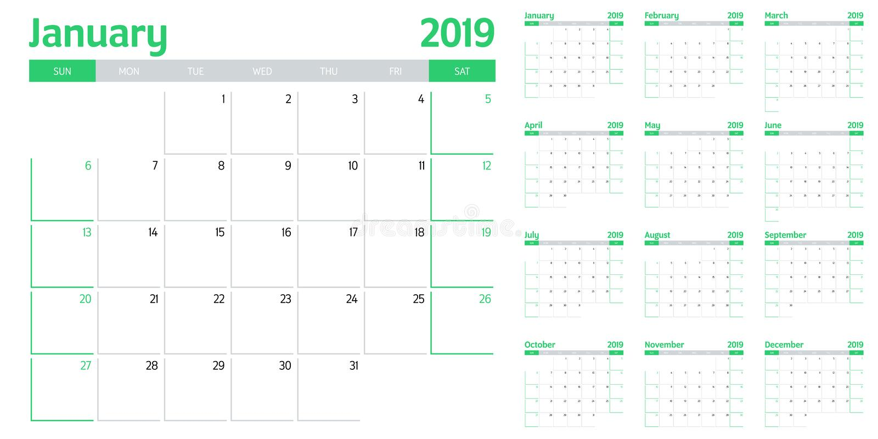 Kalenderplanerschablonen-Vektorillustration 2019 lizenzfreie abbildung