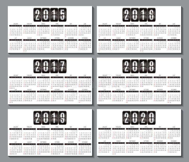 Kalenderraster 2015, 2016 2020 för affärskort royaltyfri illustrationer