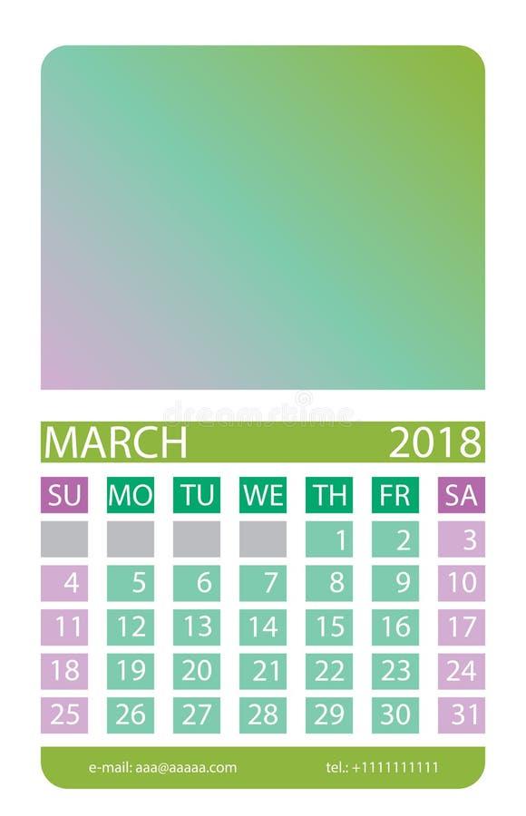 Kalenderraster marsch royaltyfri illustrationer