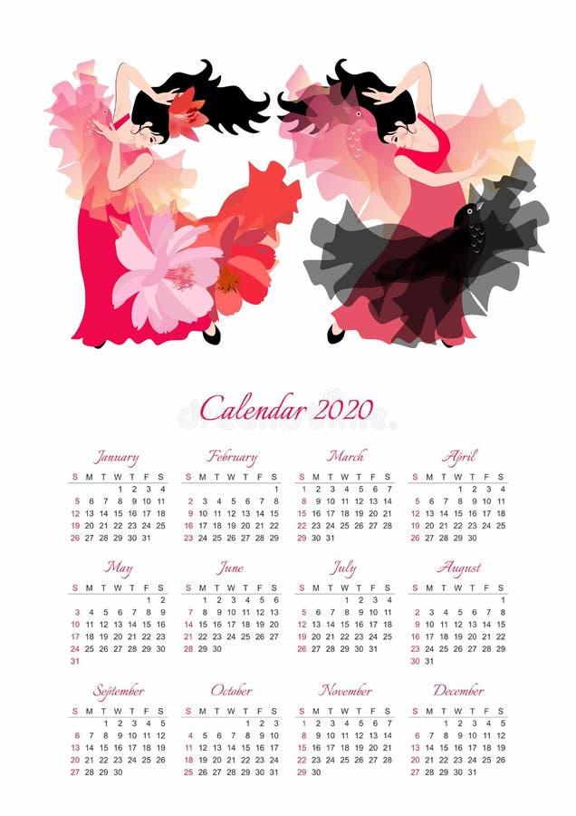 Kalenderschablone für 2020-jähriges mit zwei schönen Mädchen, die Flamenco tanzen Wochenanf?nge am Sonntag lizenzfreie abbildung
