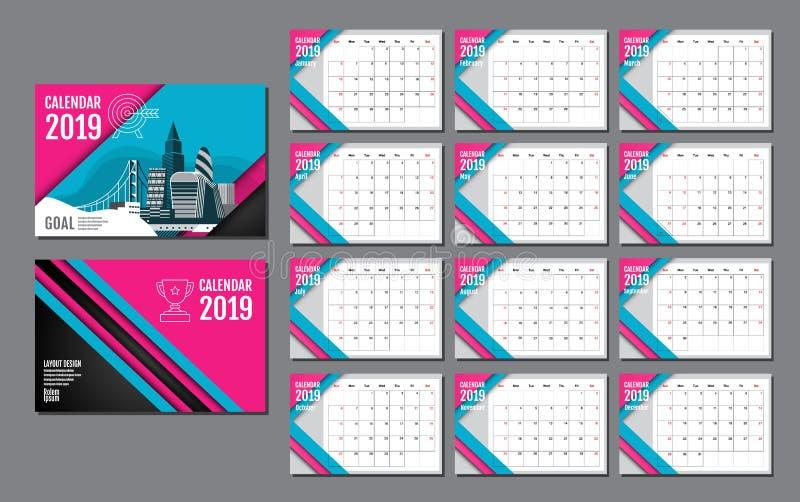 Kalenderschablone für 2019-jähriges Vektor-Entwurf, Geschäft lizenzfreie abbildung
