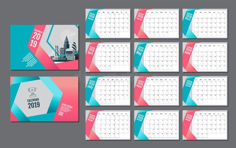 Kalenderschablone für 2019-jähriges Vektor-Entwurf, Geschäft vektor abbildung