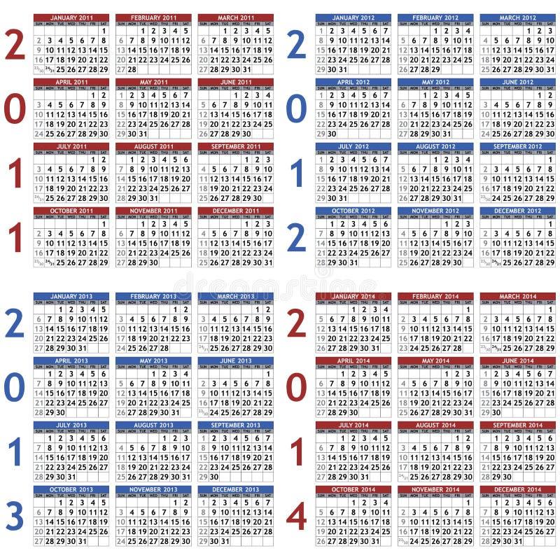 Kalenderschablonen für 2011 - 2014 lizenzfreie abbildung