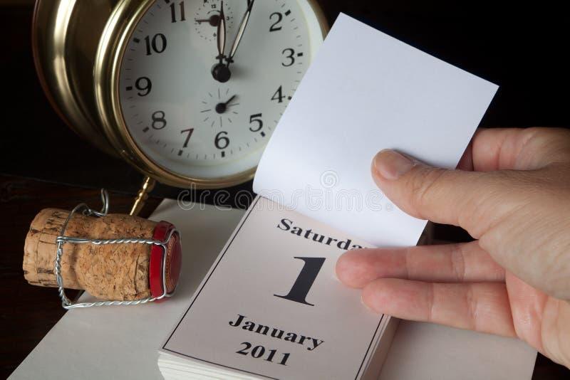 Kalenderseite des neuen Jahres stockfotos