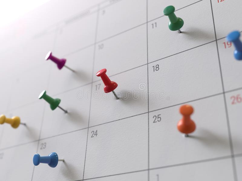 Kalenderseite mit Zeichnungstiften stockfoto