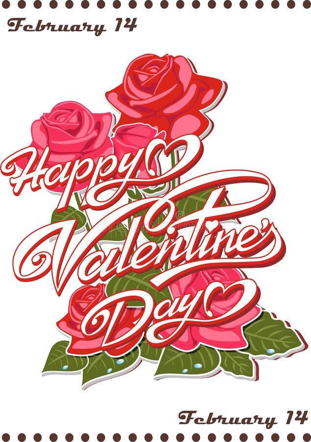 Kalendersida - lyckliga valentin dag! Februari 14 royaltyfri illustrationer