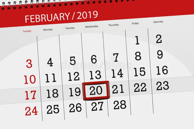 Kalenderstadsplanerare för månaden februari 2019, stopptiddag, onsdag 20 arkivbild